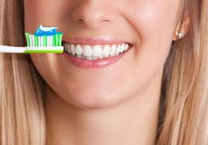 Woman with toothbrush Royalty Free Stock Photo