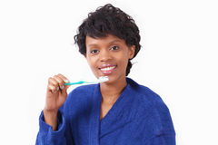 Woman with toothbrush Royalty Free Stock Images
