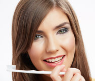 Woman with toothy brush. Royalty Free Stock Photography