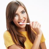 Woman with toothy brush. Stock Images