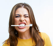 Woman with toothy brush Royalty Free Stock Photo
