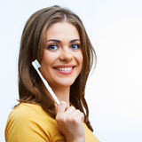 Woman with toothy brush Stock Image