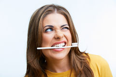 Woman with toothy brush. Stock Photo