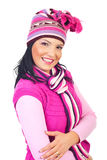 Woman with toothy smile in pink knitted clothes royalty free stock photos