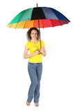 Woman with toothy smile with umbrella royalty free stock image