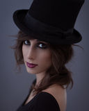 Woman With a Top Hat Royalty Free Stock Photos