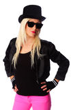 Woman in top hat with sunglasses Stock Image