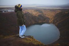 Woman on Top of Iceland Volcano Hill Stock Photos