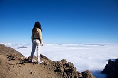 Woman at the top of La Palma Royalty Free Stock Image