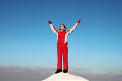 Woman on the top of the mountain Royalty Free Stock Photos
