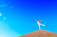 Woman on top of the mountain Royalty Free Stock Photo