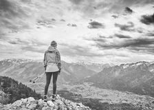 Woman on top of mountain royalty free stock photography