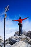 Woman on top of mountain. Greece, Mount Olympus, the summit of Mytikas, highest point of Greece Royalty Free Stock Image