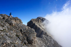 Woman on top of mountain Royalty Free Stock Images