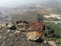 Woman on a top of a mountain. Tenerife, Canary Islands, Spain Royalty Free Stock Photos