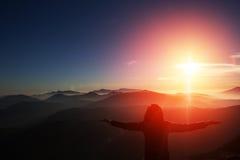 Woman on top of mountain. Trip concept. Stock Photos