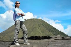 Woman on the top near volcano Bromo in Indonesia Royalty Free Stock Photography