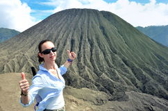 Woman on the top near volcano Bromo in Indonesia Royalty Free Stock Photo