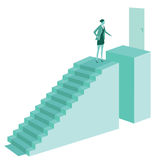 Woman on top of stairs Royalty Free Stock Photo