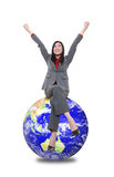 Woman on Top Of World Stock Image