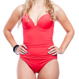 Woman torso in red swimsuit Stock Photo