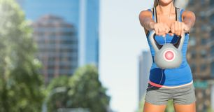 Woman torso in the street making fitness exercises royalty free stock image