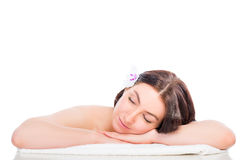 Woman totally relaxed in the spa Royalty Free Stock Image