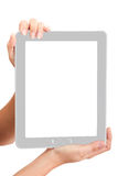 Woman touch back touch pad Stock Image
