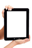 Woman touch back touch pad Stock Photo