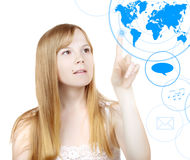 Woman and touch screen interface Royalty Free Stock Images