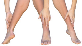 Woman touches ankle of her leg with fingers of her hand. Front, rear and angled views on female lower leg touched by the fingers of a woman. A barefoot woman is Royalty Free Stock Images