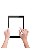 Woman touches the black the tablet Royalty Free Stock Photo