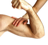 A woman touches a man`s muscles royalty free stock photo