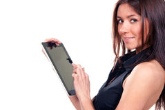 Woman touches typing digital tablet touch pad Stock Image