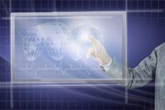 Woman Touches Virtual Screen Stock Image