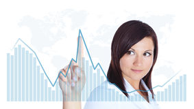 Woman touching business chart over white Royalty Free Stock Images
