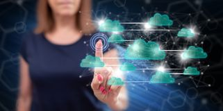 Woman touching a cloud networking concept royalty free stock photo