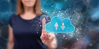 Woman touching cloud storage concept royalty free stock image