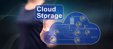 Woman touching a cloud storage concept stock images