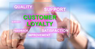 Woman touching a customer loyalty concept. On a touch screen with her fingers royalty free stock images