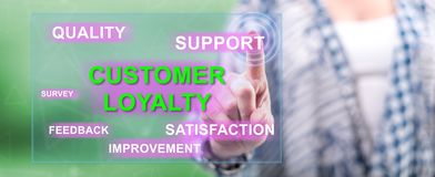 Woman touching a customer loyalty concept. On a touch screen with her finger royalty free stock image