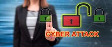 Woman touching a cyber attack concept stock illustration