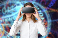 Woman touching 3D goggles on her head stock photography
