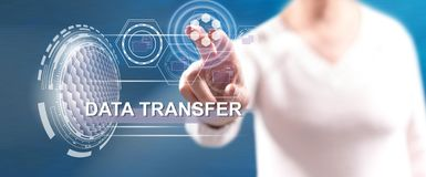 Woman touching a data transfer concept royalty free stock photography