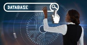 Woman touching database search bar interface. Digital composite of Woman touching database search bar interface Royalty Free Stock Image