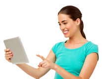 Woman Touching Digital Tablet Over White Background Royalty Free Stock Images