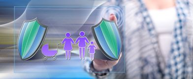 Woman touching a family insurance concept royalty free stock photography
