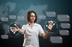 Woman touching fingerprint scanner. On virtual interface Royalty Free Stock Images