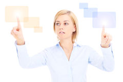 Woman touching future. Computer or pointing something Stock Image