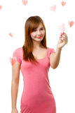 Woman touching heart shape Stock Images